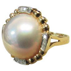 Vintage Estate 14K High Luster Pink White Mabe Pearl with Diamond Accent Ring