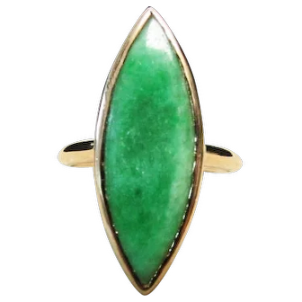 Vintage Estate Mid Century 14K Gold Translucent Marquise Cut Green Jade Ring