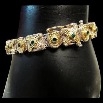 Vintage Estate Konstantino 18K Sterling Silver Mix Metal Etruscan Design With Emerald Accent Bracelet