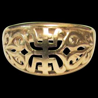 Vintage Estate Ming's of Honolulu 14K Gold Calligraphy Tapered Barrel Ring