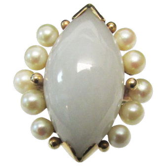 Vintage Estate Beautiful Ming's of Honolulu Marquise Cut Jade with 10 High Luster White Pink Toned Cultured Pearl Accented Ring