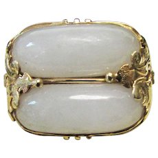 Vintage Estate Mid Century Ming's of Honolulu 14K Gold Double Translucent Saddle Jade Ring