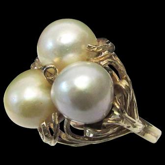 Vintage Estate Mid Century Modernist Ming's of Honolulu 14K Gold 3 Baroque Cultured Pearl Ring