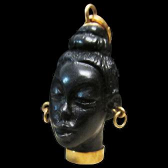 Vintage Estate Mid Century 18 KT Blackamoor Charm Pendant Old Inventory from Retired Jeweler