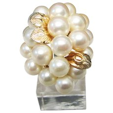 Vintage Estate Beautiful Mid Century Ming's of Honolulu 14K Gold 20 High Luster Pink White Cultured Pearl Cluster Ring