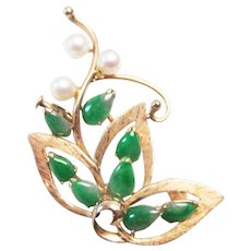 Vintage Estate Mid Century 14K 8 Piece Green Jade with Pearl Accents Pin Brooch