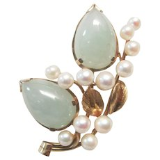 Vintage Estate Beautiful Mid Century Ming's of Honolulu 14K Jade with 12 High Luster Pink White Cultured Pearl Accents Pin Brooch