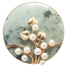 Vintage Estate Beautiful Mid Century Ming's of Honolulu 14K 10 High Luster Pink White Cultured Pearl on Jade Disc Pin Brooch