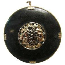Vintage Estate Ming's of Honolulu Mid Century 14K  Jade Pin Pendant