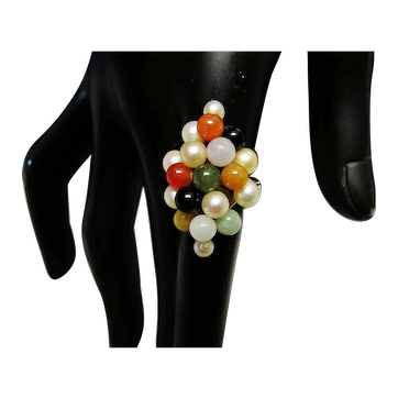 Vintage Estate Mid Century Ming's of Honolulu 14K Gold Multi Color Jade and Cultured  Pearl Ring