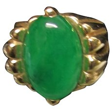 Vintage Estate Mid Century Modernist 14K Gold Translucent Thick Green Jade Ring with GIA Certification