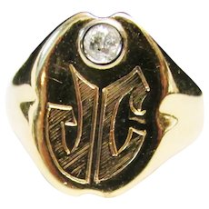 Antique Estate Tiffany and Co Men's 15KT Engraved with Old Cut Diamond Signet Ring with Tiffany Marks