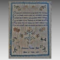Fine 19th C. American Schoolgirl Sampler 1830