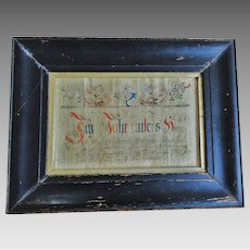 18th C. Pennsylvania Ink and Watercolor Dated 1796