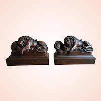 Jennings Brothers The Lion of Lucerne Bronze Clad Bookends