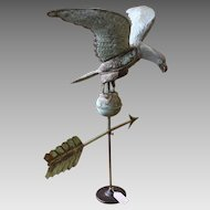 Early 20th Century Eagle Weather Vane with Dramatic Spread Wings, Directional Arrow and Stand