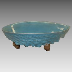 Antique English Majolica Turquoise Footed Shell Bowl