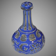 19th C Bohemian Art Glass Cased Cut Lead Crystal Decanter with Stopper