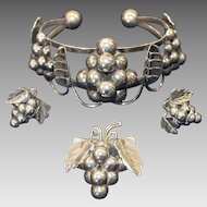 Vintage Quinto Taxco Sterling Silver Cuff Bracelet, Earrings, and Brooch Set