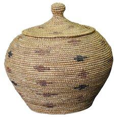 Early 20th Century Native Alaskan Polychrome Twined Lidded Basket