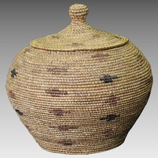 Early 20th Century Native Alaskan Polychrome Twined Lidded Basket