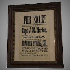 Antique 1870 Framed Broadside Notice Advertising the Sale of Middletown, Conn. Real Estate
