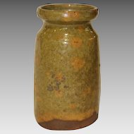 19th Century Wheel Thrown Mottled Yellow Green Glazed Redware Jar