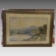1872 Framed Watercolor of Lake Willoughby by American Artist Edmund Darch Lewis