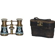 Antique French Enamel and Mother of Pearl Opera Glasses with Leather Case