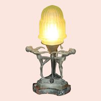 1930's Era Art Deco Boudoir Lamp with 3 Dancing Women on Marble Base With Original Stepped Green Glass Shade