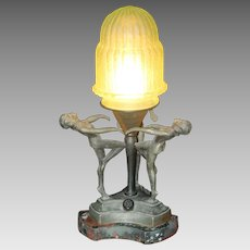 Unusual 1930's Era Art Deco Boudoir Lamp with Three Dancing Women on Marble Base With Original Stepped Green Glass Shade