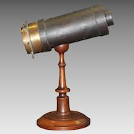 1870's C. G. Bush & Co. Glass Filled Parlor Kaleidoscope on Turned Wooden Stand