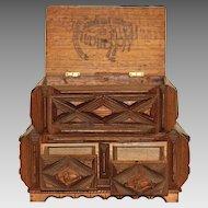 Sculptural Tramp Art Box with Acorn Finial