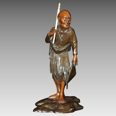 Antique Figural Asian Bronze Sculpture