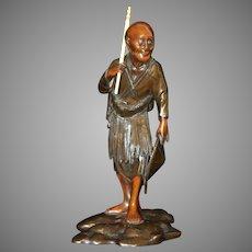 Antique Figural Asian Bronze Sculpture