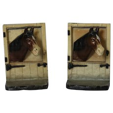 Vintage Hubley Cast Iron Bookends of Horse at Barn Stall Door