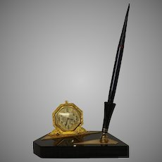 Elgin Art Deco Desk Set With Clock and Pen Mounted on a Black Marble Base