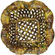 Antique Shenandoah Valley Redware Woven Basket with Spattered Glaze