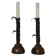 Pair of Early 19th Century Hand Forged Iron Courting Candle Holders