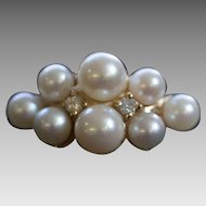 Vintage 14K Yellow Gold Pearl Cluster Ring with Diamond Accents
