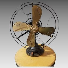 1920s General Electric AOU 3 Speed Oscillating Brass Blade Fan