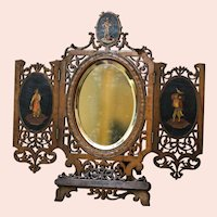 Sorrento Carved and Inlaid Continental Dresser with Beveled Mirror and Adjustable Stand
