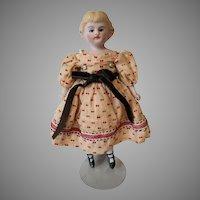 Antique German  Hertwig Bisque Shoulder Head Child's Doll circa 1890s