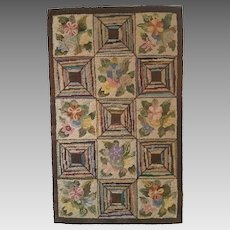Framed Floral and Geometric Hooked Rug circa 1940s