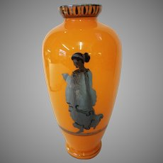 Bohemian Czech Hand Blown and Painted Art Glass Vase With Silver Overlay