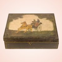 Antique 19th Century Painted Locking Wooden Document Box