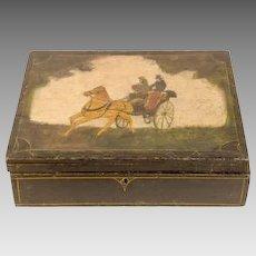 Antique 19th Century Painted Locking Wooden Document Box