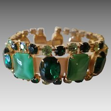 Vintage Gold Tone Green Moonglow Glass and Rhinestone Bracelet