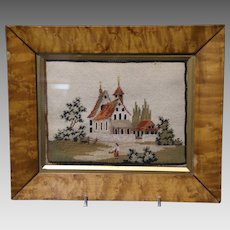 Antique  Needlepoint of Country Church  in Original Period Frame