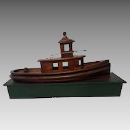 Folk Art Hand Crafted Mahogany Tug Boat on Custom Wood Stand